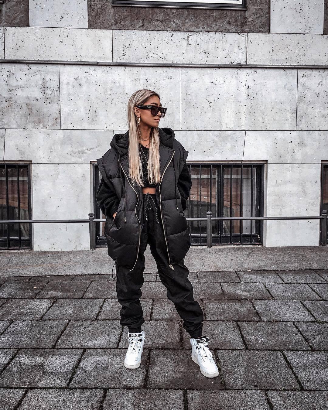 jacket black vest black pants joggers white sneakers cropped hoodie black sunglasses
