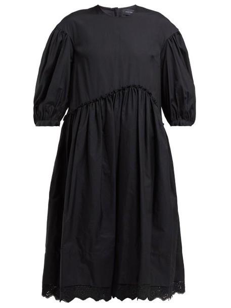 Simone Rocha - Broderie Anglaise Trimmed Cotton Dress - Womens - Black