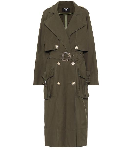 Balmain Cotton-blend trench coat in green
