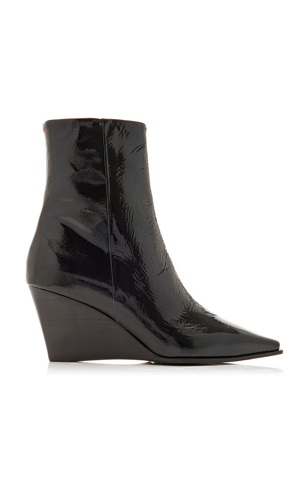 Aeyde Lena Patent Leather Wedge Boots in black