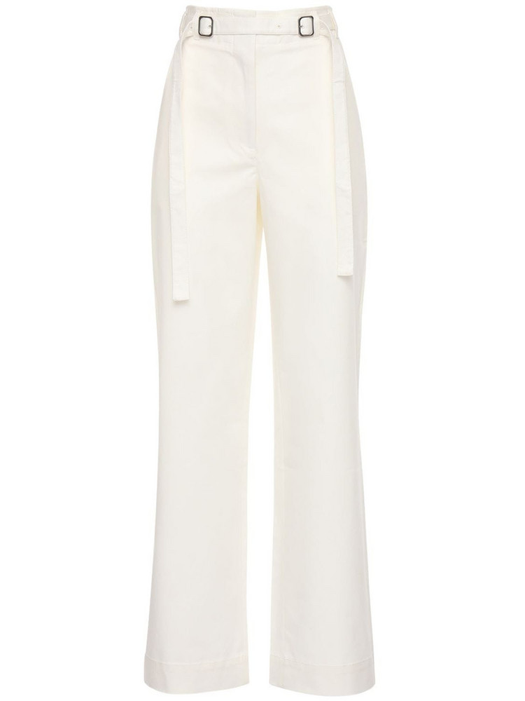 PROENZA SCHOULER WHITE LABEL Cotton Twill Belted Pants in white