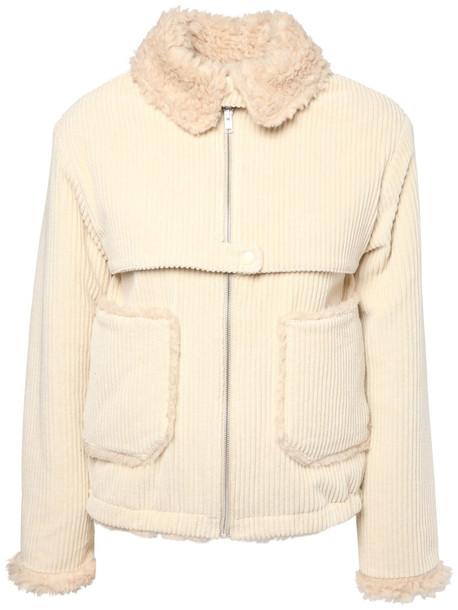 KENZO Corduroy & Faux Shearling Jacket in ivory
