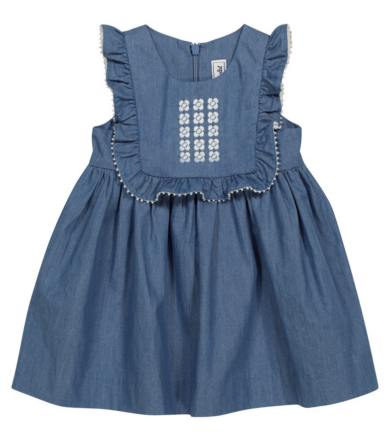 Tartine et Chocolat Baby embroidered chambray dress in blue