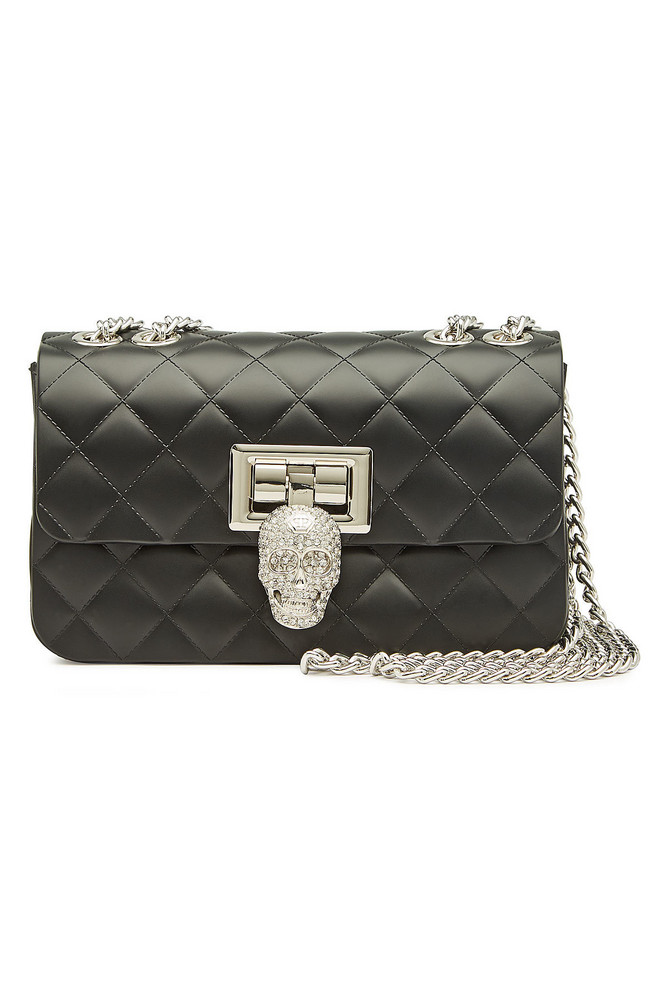 Philipp Plein Quilted Shoulder Bag with Crystals  in black