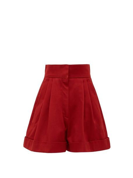 Françoise - High-waist Pleated Cotton Shorts - Womens - Burgundy
