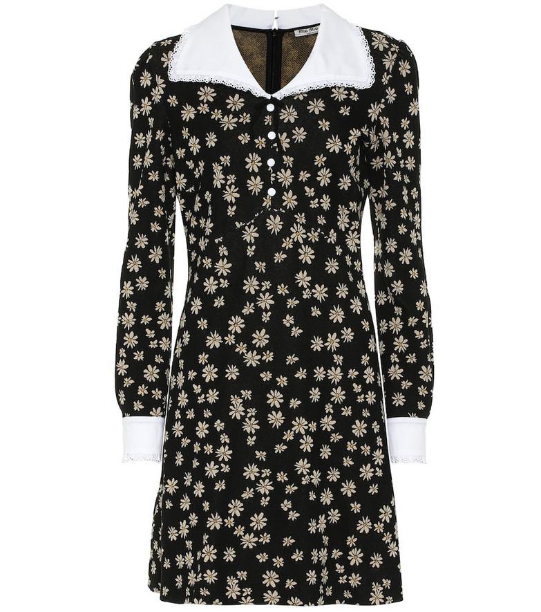 Miu Miu Floral jersey minidress in black