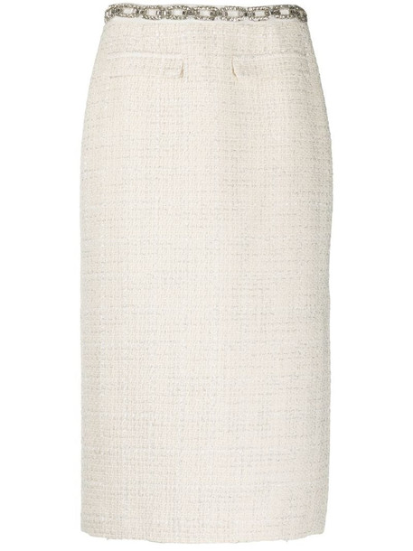 Blumarine stud-embellished cut-out skirt in white