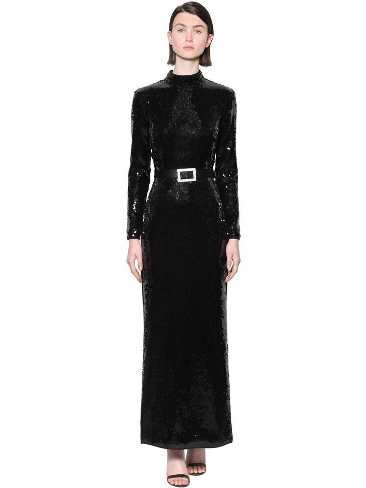 DE LA VALI Long Sequined Back Cutout Dress in black