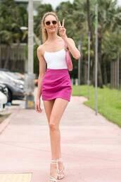 skirt,mini skirt,pink skirt,pink,top,bodysuit,swimwear,one piece swimsuit,candice swanepoel,celebrity,model off-duty,sandals