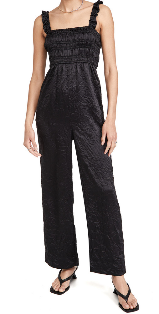 GANNI Crinkled Satin Jumpsuit in black