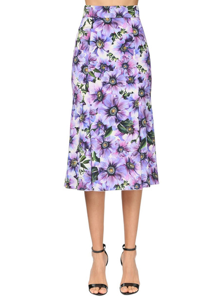 DOLCE & GABBANA Anemone Print Charmeuse Flared Skirt in purple / multi