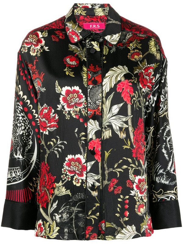 F.R.S For Restless Sleepers floral-print silk shirt in black
