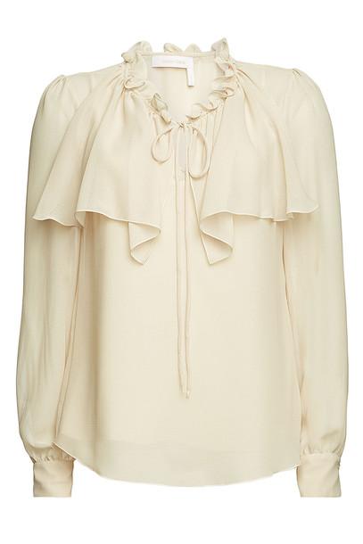 See by Chloé Tie Neck Sheer Blouse  in beige