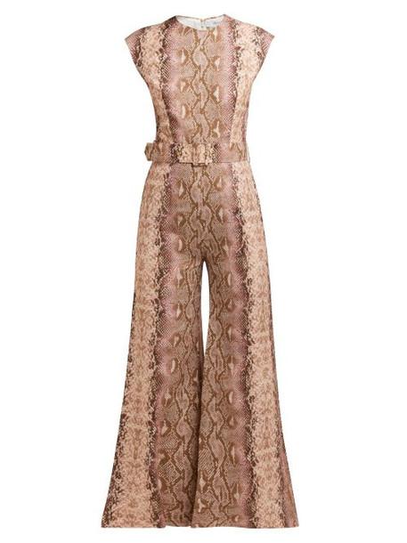 Emilia Wickstead - Barbara Python Print Cropped Leg Jumpsuit - Womens - Pink Print