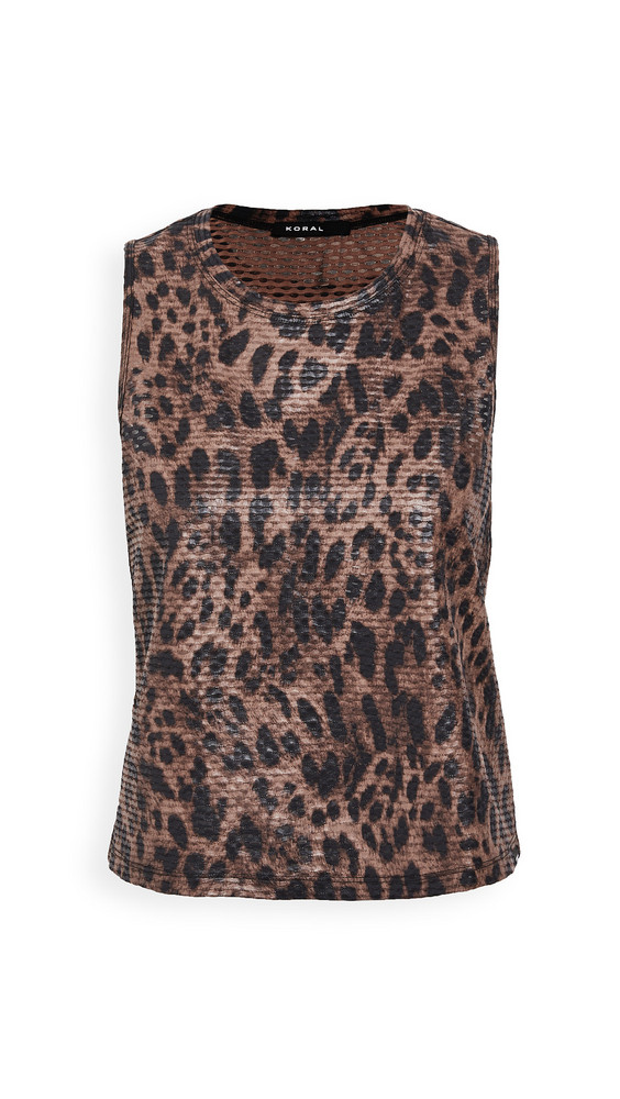 KORAL ACTIVEWEAR Muscle Tank in brown / leopard