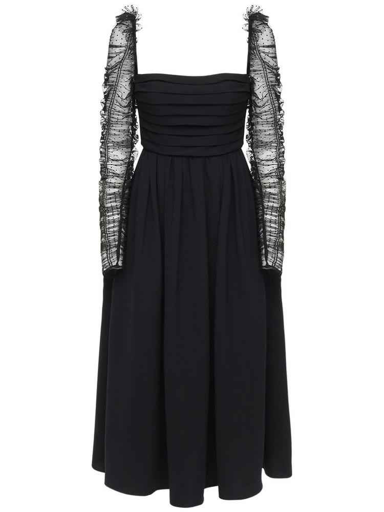 SELF-PORTRAIT Crepe Dot Mesh Midi Dress in black