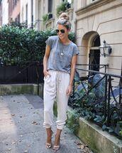 pants,white pants,t-shirt,grey t-shirt,sandals,sandal heels,sunglasses