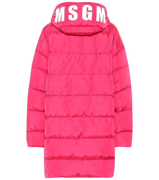 MSGM Quilted down coat in pink