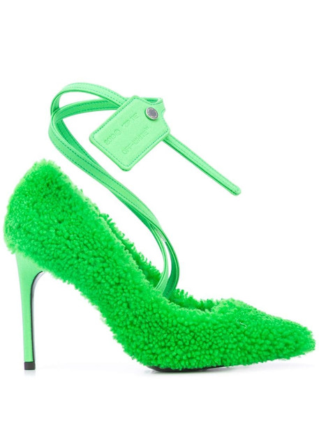 Off-White fluffy finish pumps in green