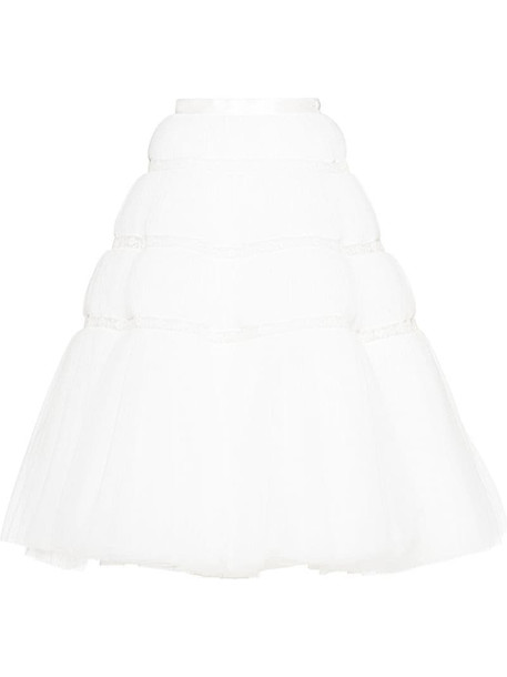 Miu Miu mid-length tulle skirt in white