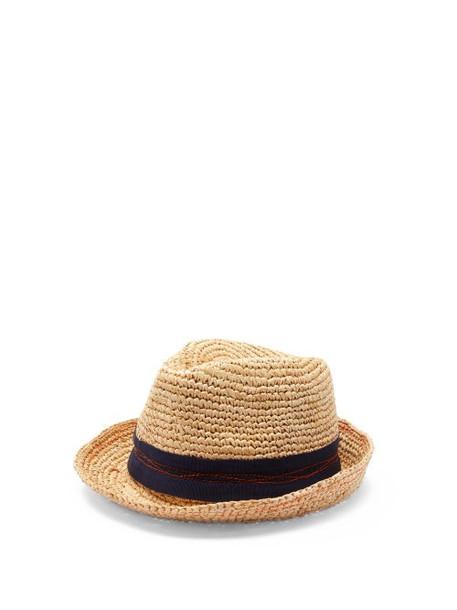 Lola Hats - Tarboush Abstract-stitched Raffia Fedora Hat - Womens - Beige Navy