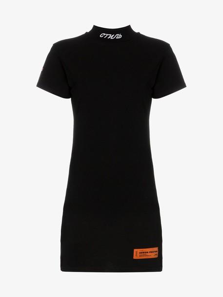 Heron Preston high neck cotton mini dress in black