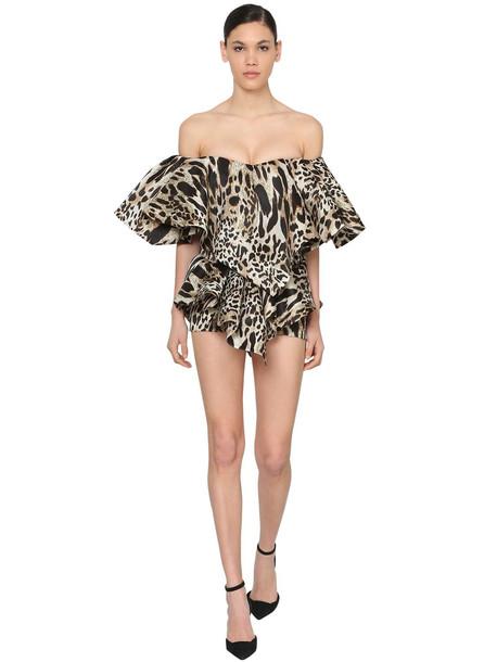 ALEXANDRE VAUTHIER Printed Organza Mini Dress W/ Ruffles in leopard