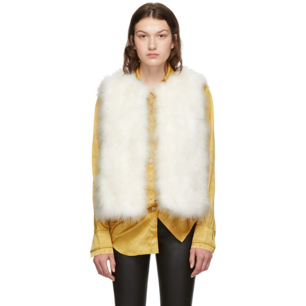 Yves Salomon White Feather Vest