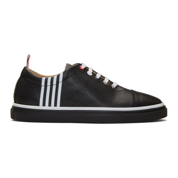 Thom Browne Black Leather 4-Bar Sneakers