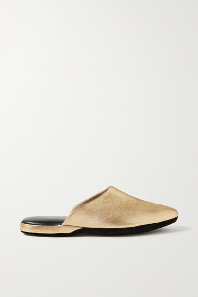 Charvet - Metallic Textured-leather Slippers - Gold