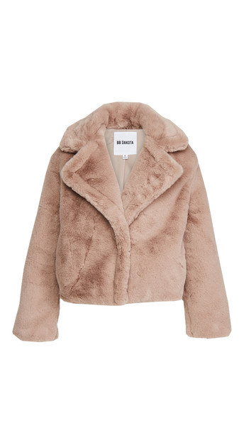 BB Dakota Big Time Plush Jacket in taupe