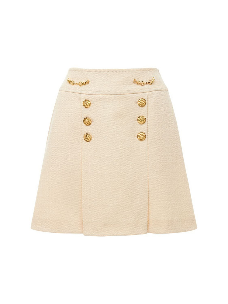 GUCCI Argyle Wool Mini Skirt W/ Front Buttons in beige