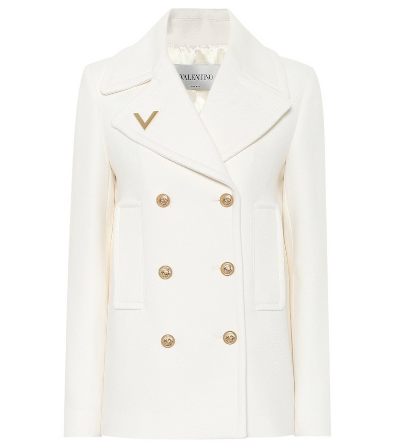 Valentino Double-breasted wool coat in white
