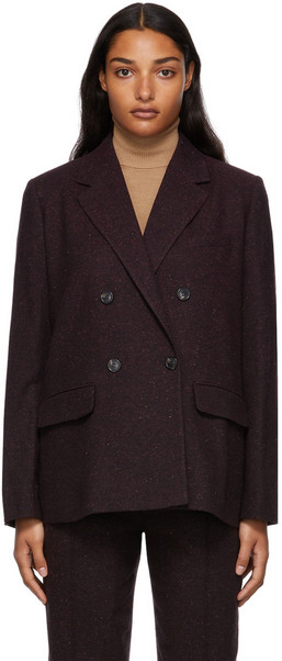 A.P.C. A.P.C. Burgundy Double-Breasted Tweed Blazer