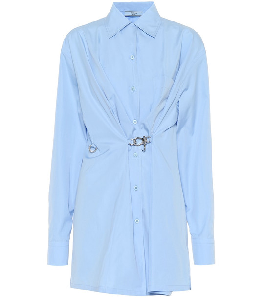 Prada Embellished cotton shirt in blue