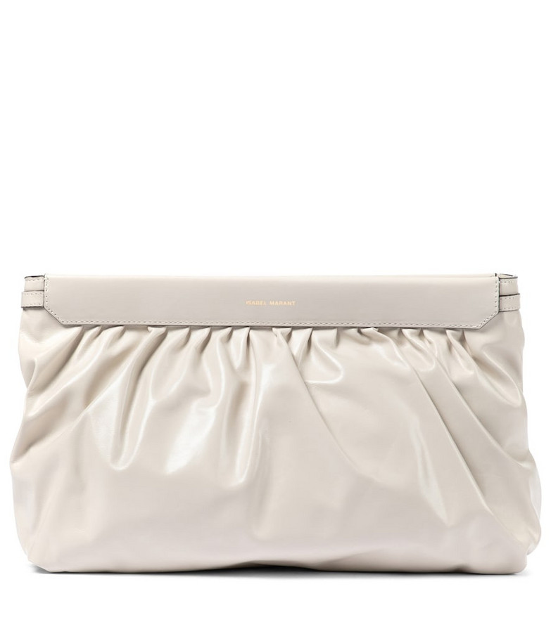 Isabel Marant Luz leather clutch in white