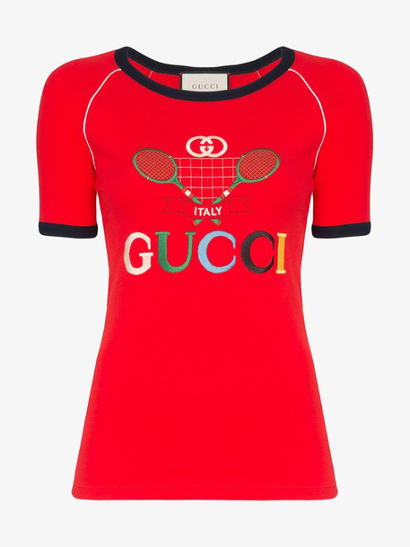 Gucci Ribbed T-shirt with Gucci Tennis in red