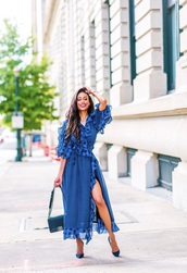 dress,midi dress,maxi dress,long dress,long sleeves,long sleeve dress,blue,dark blue,royal blue,ruffle,polka dots,stripes,cut-out,cut-out dress,summer,summer dress,holiday season,summer outfits,spring,spring outfits