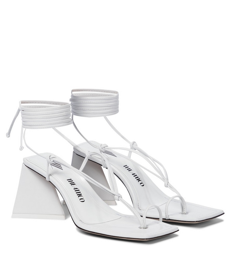 The Attico Mona leather thong sandals in white