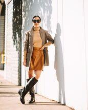 skirt,mini skirt,leather skirt,knee high boots,black boots,plaid blazer,turtleneck sweater