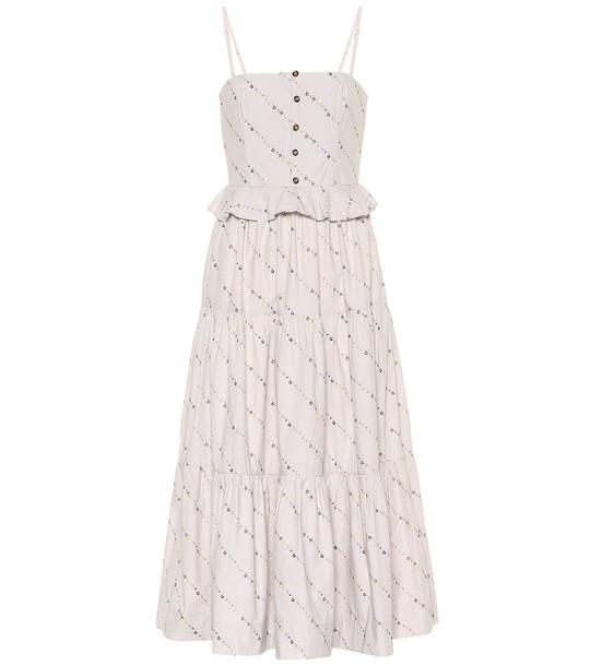 Ganni Floral cotton midi dress in white