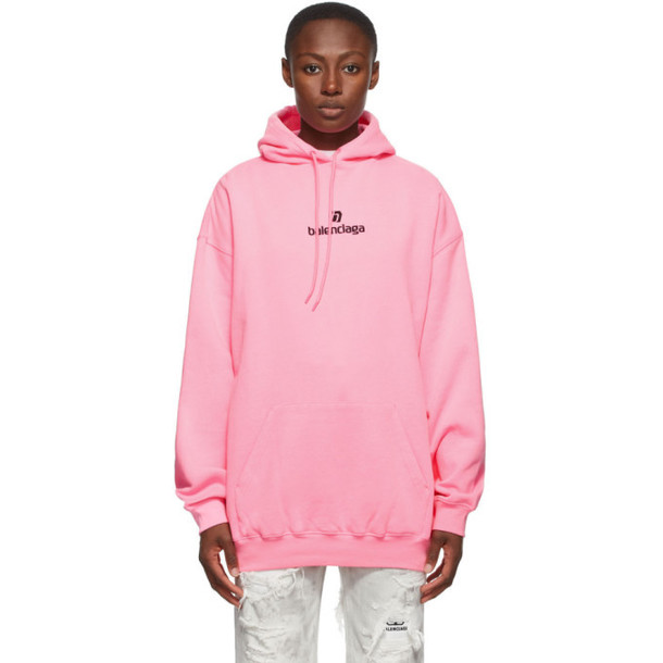 Balenciaga Pink Small Fit Sponsor Logo Hoodie