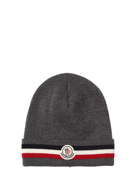 MONCLER Logo Stripe Virgin Wool Rib Knit Beanie in grey