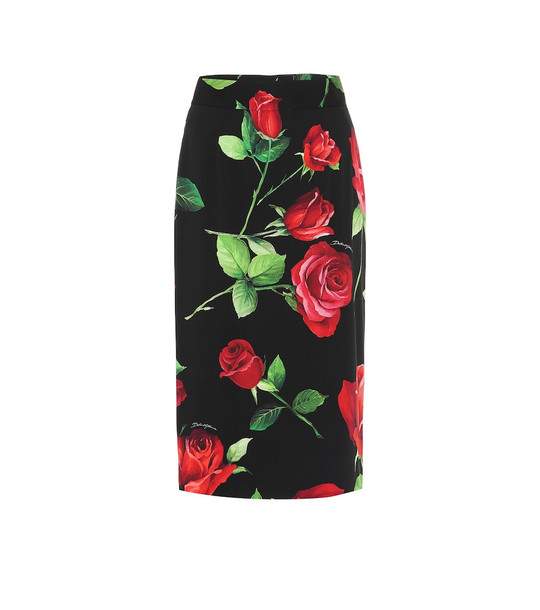 Dolce & Gabbana Floral stretch-silk midi skirt in black