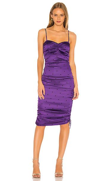 For Love & Lemons Paula Ruched Dress in Purple