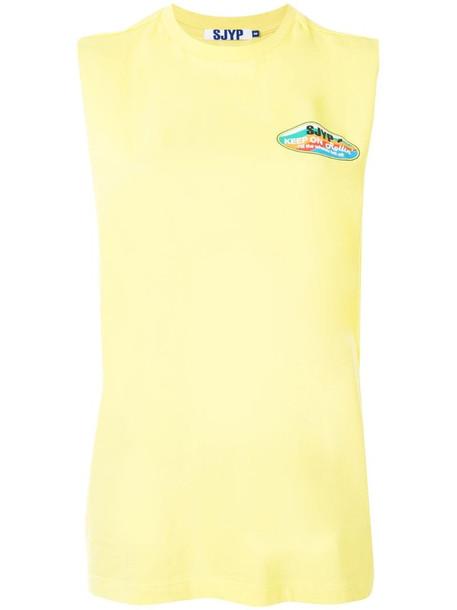SJYP sleeveless logo T-shirt in yellow