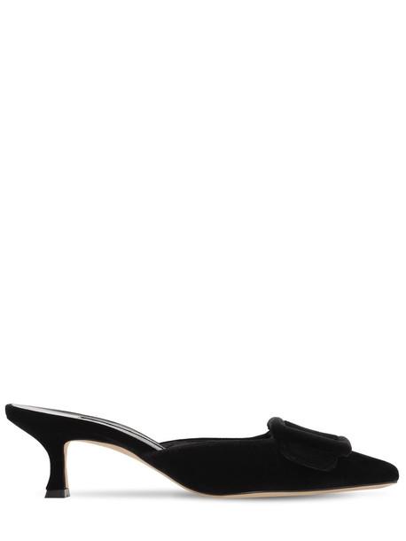 MANOLO BLAHNIK 50mm Maysale Velvet Mules in black