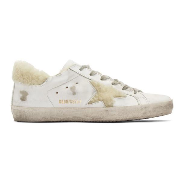Golden Goose White Shearling Superstar Sneakers