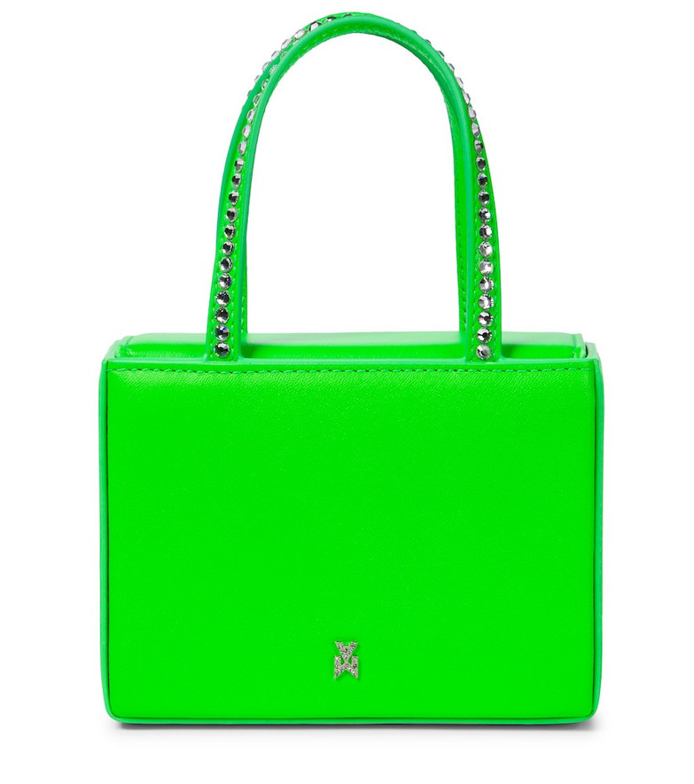 Amina Muaddi Gilda Super Mini embellished leather tote in green