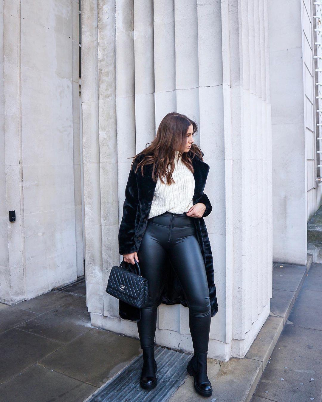 pants black leather pants black boots black bag faux fur coat white sweater